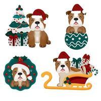 Kerstset met grappige stier hond in kerstmuts