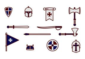 Cavalry Knight Armour And Weapon vector