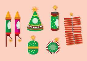 Diwali vuur crackers plat vector