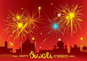 Diwali Fire Crackers Festival Achtergrond vector