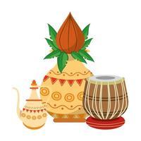 Indische lotusbloemen en decoratieve porseleinen potten met bladeren