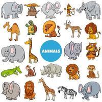 cartoon wilde dieren tekens grote reeks vector