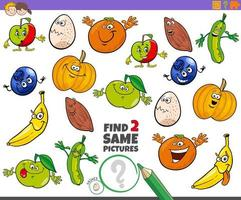 vind een educatief spel met twee dezelfde karakters voor kinderen vector