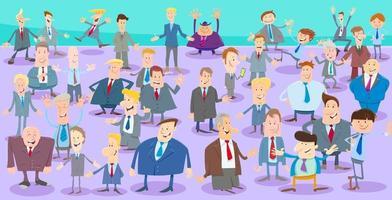cartoon zakenlieden tekens grote groep