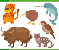 grappige cartoon wilde dieren tekens instellen