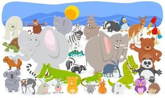 cartoon dierlijke karakters menigte achtergrond vector