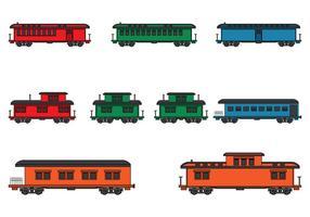 Vintage stoom locomotief trein set vector