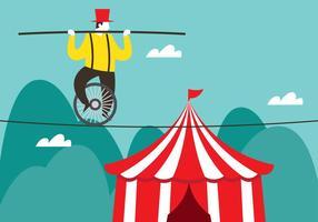 Circus tightrope wandelaar vector