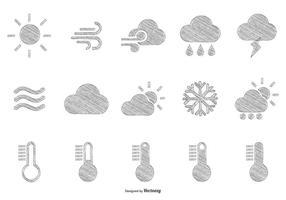 Schetsmatige Hand getekende stijl weer iconen