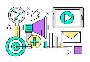Lineaire Marketing en Start-iconen vector