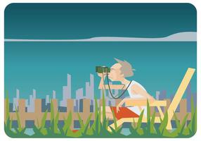 Oude Man Ontspannen In Grasstoelen Vector
