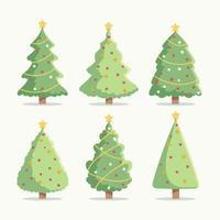 platte kerstboom iconen set