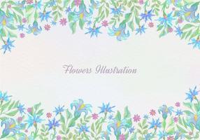 Gratis Vector Blauwe Waterverf Bloemenachtergrond