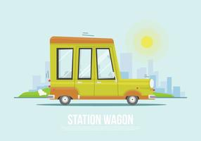 Flat Station Wagon Vector Illustratie