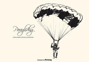 Hand getekende schets van een paraglider vector