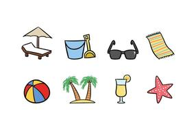 Strand Doodle Pictogrammen vector