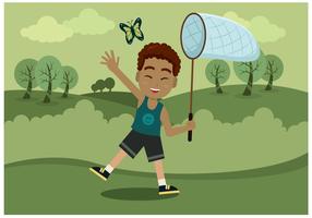 Jongen Met Vlinder Net Vector