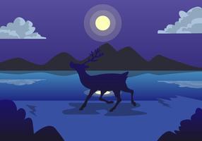 Caribou maanlicht vector