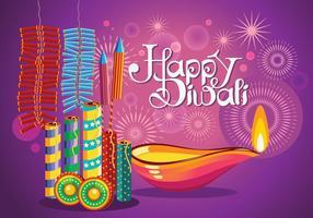 Kleurrijke vuurkraker voor Diwali vakantie plezier vector