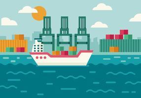 Gratis vrachtschip op scheepswerf en haven laden logistiek vector