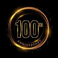 glinsterende gouden 100ste verjaardagstekst in cirkelvormig frame