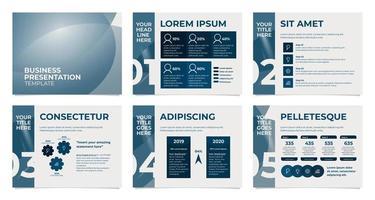 zakelijke presentatiesjabloon in grijs en blauw