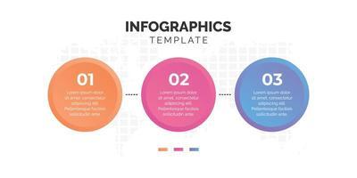 drie stappen kleurrijke cirkel infographic sjabloon