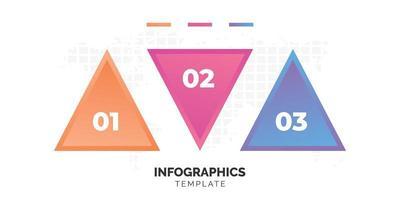 drie stap kleurrijke driehoek infographic sjabloon