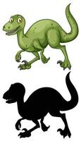 set van dinosaurus stripfiguur en silhouet vector