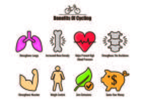 Icons of Benefits Cycling vector