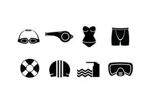 Zwembad set iconen