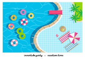 Pool Party Innertube Flat Vector Illustratie