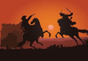 Cavalry SIlhouette Gratis Vector