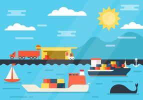 Gratis vrachtschip op scheepswerf en haven laden logistiek