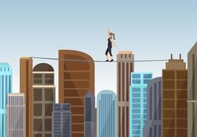 Vrouw Wandelen Een Tightrope Gratis Vector
