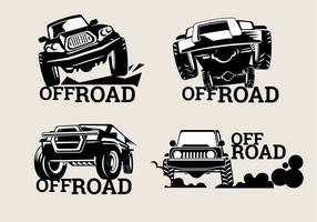 Zet Off-road Suv Logos op bruine achtergrond vector