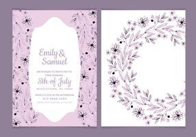 Hand getekende bloemen vector bruiloft uitnodiging