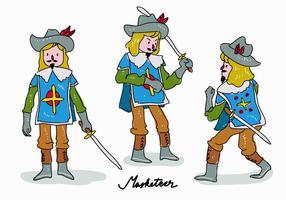 Royal Masketeer Character Pose Hand Getekende vector illustratie