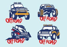 Zet Off-road Suv Auto op blauwe achtergrond vector