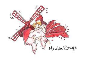 Moulin Rouge Cabaret Vrouw Vector