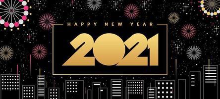 gelukkig nieuwjaar 2021 stadsgezicht
