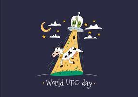 Wereld UFO Dag Met Vreemdelingen Ontvoeren Koe Vector