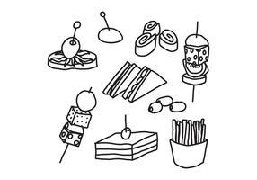 Zwart-witte Appetizers vector