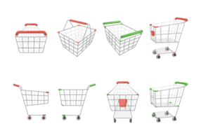 Supermarket Cart Pictogrammen Vector