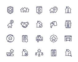 onroerend goed lijn pictogrammen, huurders, huizen te huur vector