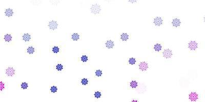 lichtroze, blauw patroon met gekleurde sneeuwvlokken