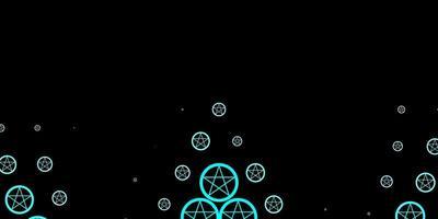 donkerblauw sjabloon met esoterische tekens