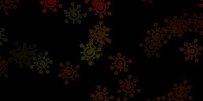 donkergroen, geel patroon met coronavirus-elementen.
