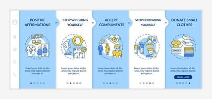 body positivity tips onboarding vector sjabloon