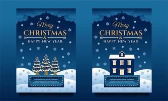 prettige kerstdagen en gelukkig nieuwjaar banners vector